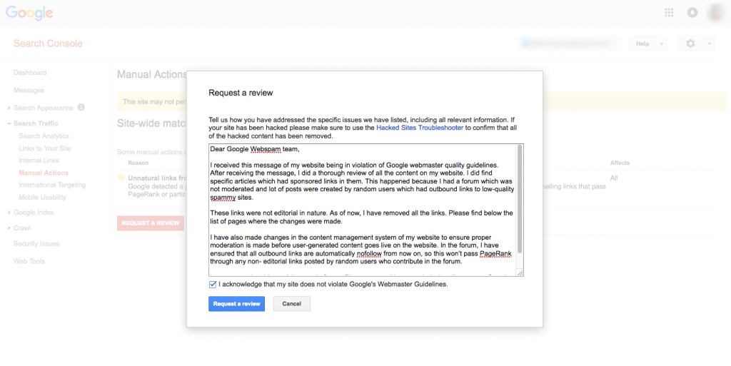 Google webmaster reconsideration request