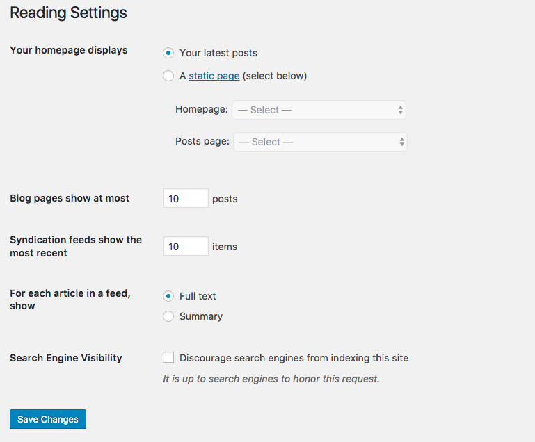 Wordpress visibility settings