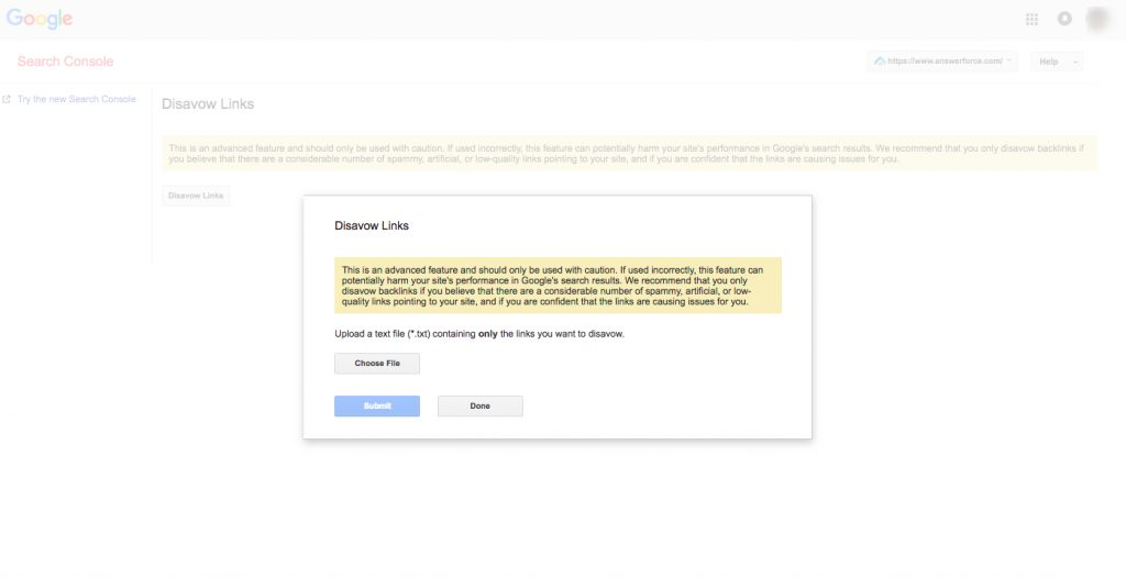 Disavow Links Google Search Console