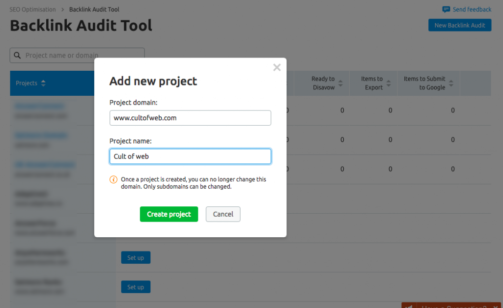 Add new project backlink audit