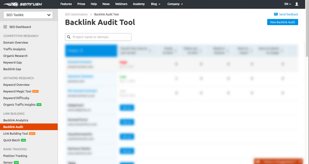 Backlink audit with semrush