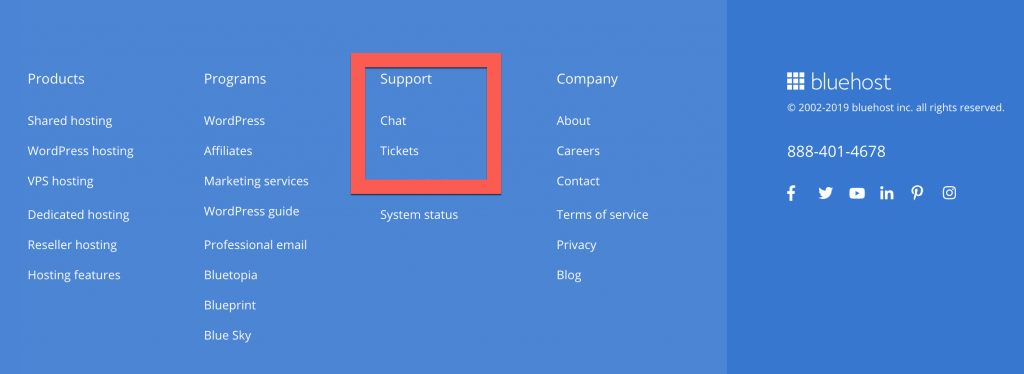Bluehost customer support live chat