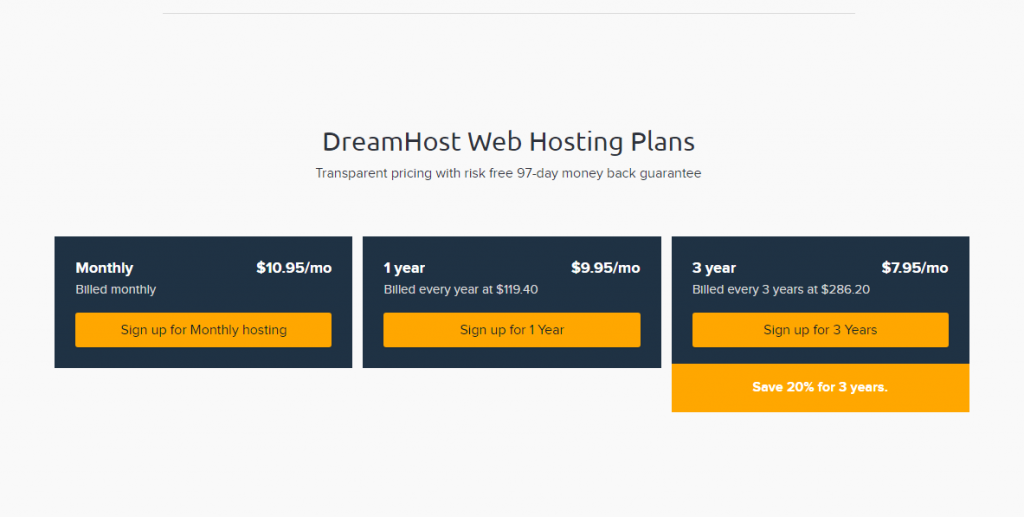 Dreamhost web hosting plans for small business