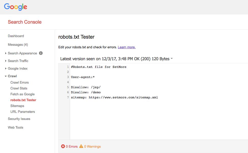 Google Robots.txt tester
