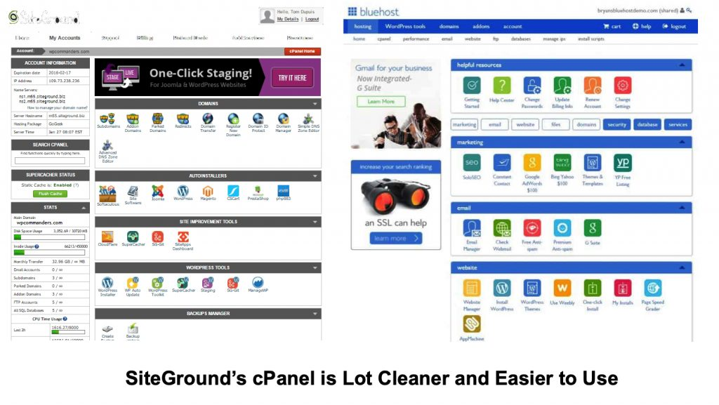 Siteground and Bluehost cPanel