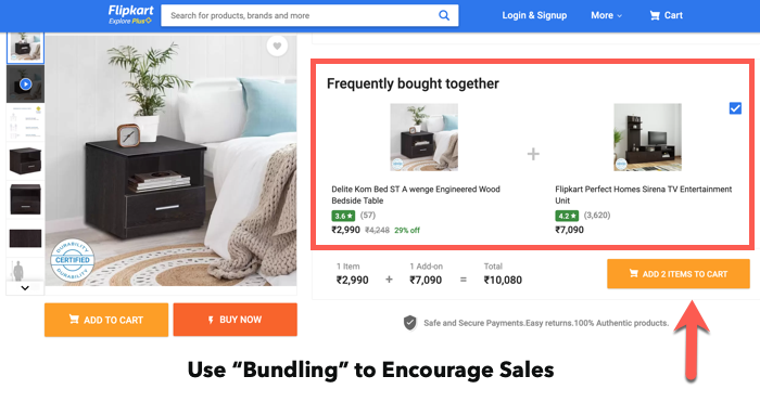 ecommerce bundling or products in product landing page