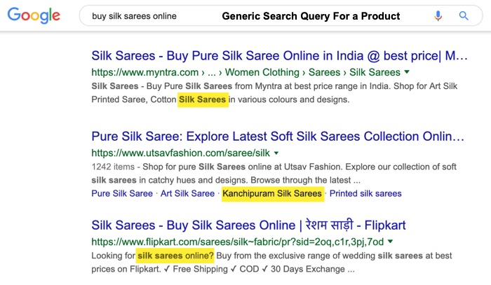 ecommerce general product search query