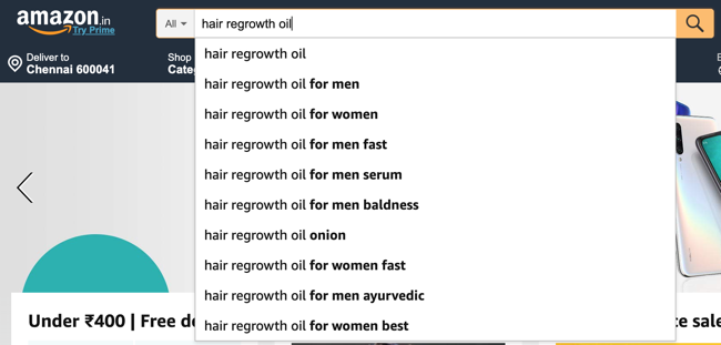Amazon Auto suggest keyword suggestions