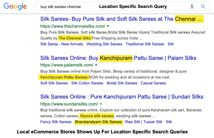 local search results eCommerce seo