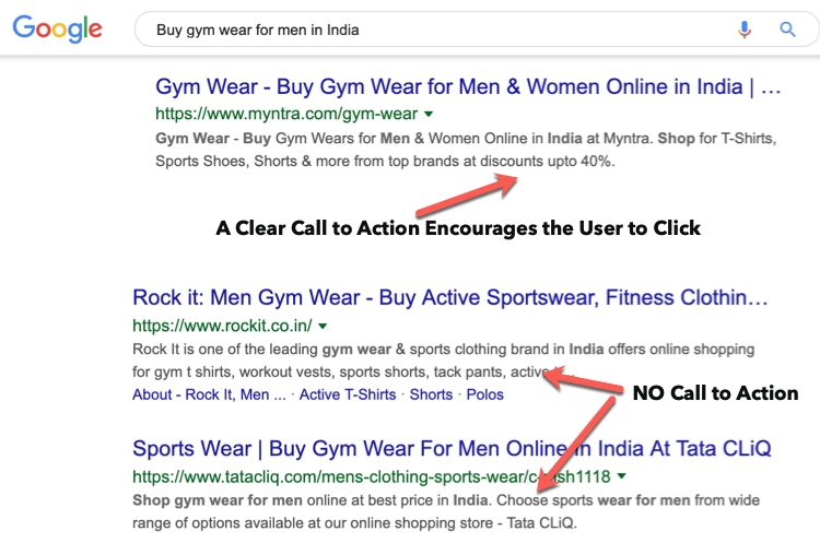 Call to action in Meta description - eCommerce SEO