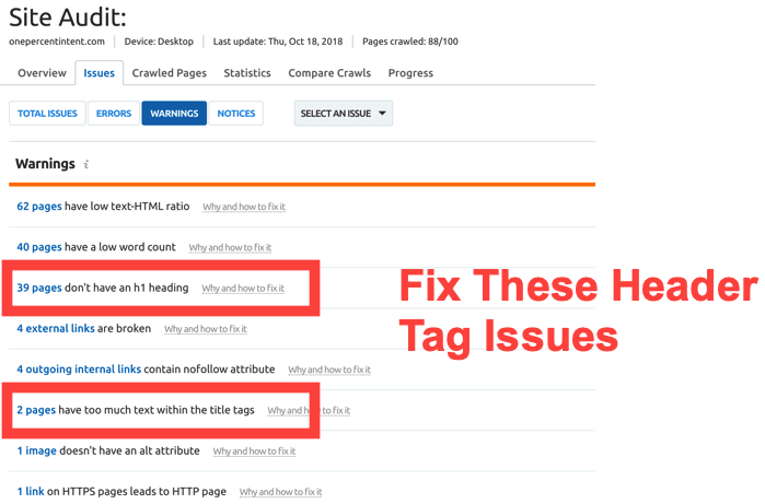 Fix broken header tags with Semrush