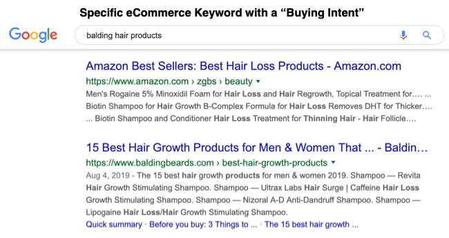 Specific ecommerce keyword with buying intent
