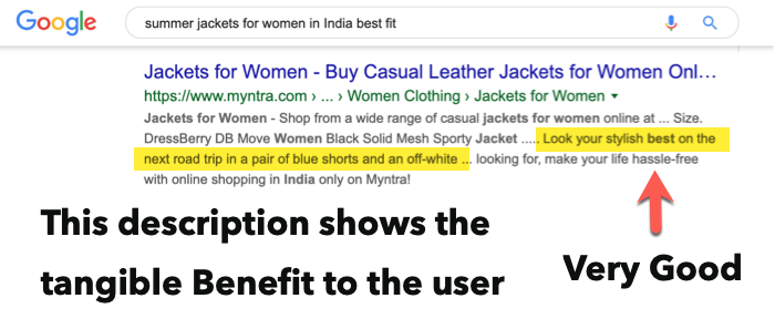 Meta description ecommerce - show benefit