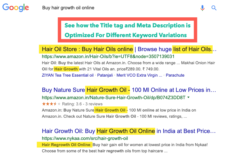 Optimize ecommerce title tags meta descriptions